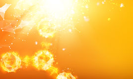 Atom particles. Over orange background with shining sparks. Vector illustration royalty free illustration