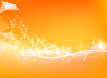 Atom particles. Over orange background with shining sparks. Vector illustration Stock Photography