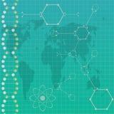 Atom path around earth . Stock Image