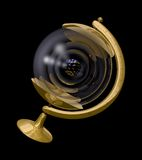 Atom planetarium. Fantasy illustration of an old-style desktop brass globe containing a model of an atom Stock Photography