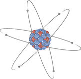 Atom in planetary atomic model Royalty Free Stock Image