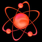 Atom red - black background Royalty Free Stock Photo