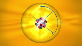 Atom with nucleus, atomic shell and orbiting electrons on a yellow background
