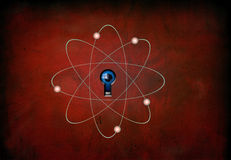 Atom on red grunge Stock Photo