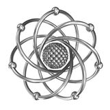 Atom - relistic model from steel over white Stock Photo