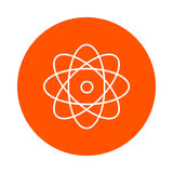 Atom with rotating electrons, circular line icon, simple color change, flat style. Atom with rotating electrons, circular linear icon, simple color change, flat vector illustration