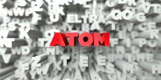 ATOM - Roter Text auf Typografiehintergrund - 3D übertrug freies Archivbild der Abgabe Stockbild