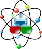 Atom scheme with colored laboratory flasks Royalty Free Stock Photography