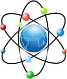 Atom scheme with stylized blue planet Earth Royalty Free Stock Image