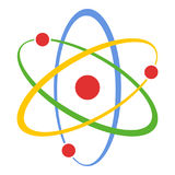 Atom Science Concept Flat Icon sur le blanc Photos stock