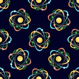 Atom seamless pattern on dark blue background. Science for kids. Cartoon vector illustration in flat style Stock Image