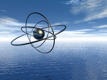 Atom in seascape graphic. Computer generated rendering Stock Images