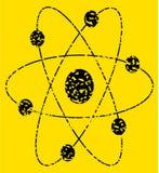 Atom sign. Damaged atom sign isolated on white Stock Photography
