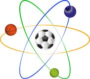 Atom. Sign with sport balls Royalty Free Stock Photo