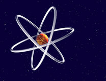 Atom and starfield Stock Photo