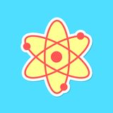Atom sticker with shadow isolated on blue Royalty Free Stock Photography