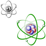 Atom structure color and bw Royalty Free Stock Photography