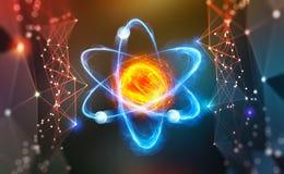 atom- struktur för gammal skola för blackboarddrawhand Vetenskapligt genombrott Modern vetenskaplig forskning på kärn- fusion Inn stock illustrationer