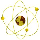 Atom symbol with a globe. Yellow atom symbol with a globe royalty free illustration