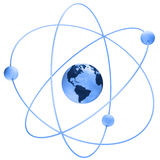 Atom symbol with a globe Stock Image