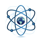 Atom symbol with a globe in the middle Royalty Free Stock Photos