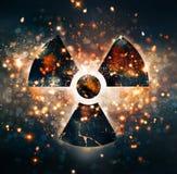 Atom symbol glow Royalty Free Stock Photo
