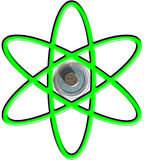 Atom symbol over AA battery. Atom symbol over AA cell (battery) top positive terminal Stock Image