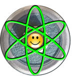 Atom symbol with smiley face nucleus. Over AA cell Royalty Free Stock Images