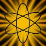 Atom Symbol on Sunburst Design Royalty Free Stock Photography