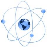 Atom Symbol With A Globe Stock Image