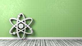 Atom Symbol on Wooden Floor with Copyspace. White Atom Symbol Shape on Wooden Floor Against Green Wall with Copyspace 3D Illustration Royalty Free Stock Image