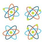 Atom Symbols für Wissenschaft, bunte Ikonen lokalisiert auf weißem Hintergrund Lizenzfreies Stockfoto
