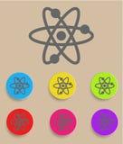 Atom- symbolsymbolsvektor med färgvariationer Arkivfoton