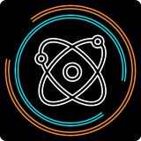 Atom Thin Line Vector Icon simple ilustración del vector