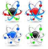 Atom variation color. Central nucleus surrounded by electrons, different atom variation in color, vector illustration Royalty Free Stock Photography