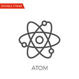 Atom Vector Icon. Atom Thin Line Vector Icon. Flat Icon Isolated on the White Background. Editable Stroke EPS file. Vector illustration Royalty Free Stock Image