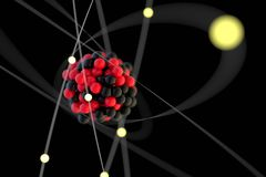 Atom Visualisation. 3D Illustration of an atom on black Stock Photos
