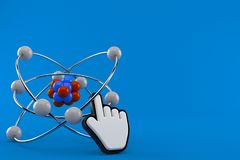 Atom with web cursor. Isolated on blue background. 3d illustration Stock Photos