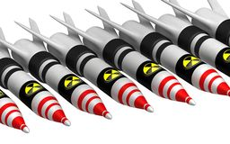 Atombomben mit Strahlungsikone Lizenzfreie Stockfotos