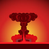 Atombombenexplosion in der Wüste lizenzfreie abbildung