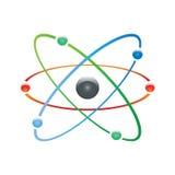 Atomdel på vit bakground. Arkivbilder