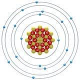 Atome d'argon (isotope instable) sur un fond blanc Photos libres de droits