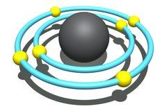 Atome de carbone sur le fond blanc Images libres de droits