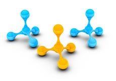 Atomes bleus et jaunes sur le fond blanc Photo stock