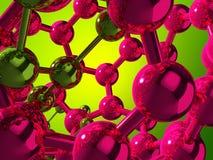Atomi riflettenti su priorità bassa verde illustrazione di stock