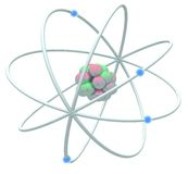 Atomic. Atom shapes on an isolated white background Stock Image