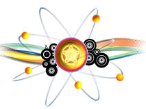 Atomic. 3D atomic visualization, with wave colors Royalty Free Stock Photos