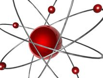Atomic. 3d model atomic with red balls Royalty Free Stock Photography