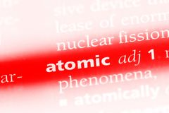 Atomic. Word in a dictionary.  concept Royalty Free Stock Photos
