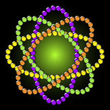 Atomic Beads. A beaded atomic pattern is featured in an abstract background illustration stock illustration